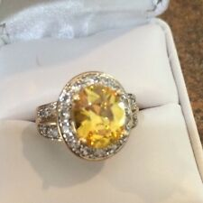 Beautiful Gold Over Sterling Silver Yellow & White Cz Ring Sz 7