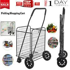 Folding Utiity Cart Collapsible Grocery Shopping Basket 4 Wheeler Laundry Sports