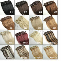 Full Head Clip in Remy Hair Extension 100% Real Human Hair Any Color