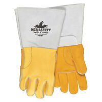 Mcr Safety 49751M Welding Leather Glove,Gray/Gold,M,Pk12