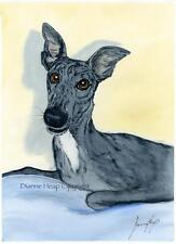 LARGE DOG 7198 GREYHOUND WHIPPET LURCHER DIANNE HEAP DOGS BED PAINTING PRINT ART