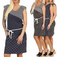 Damen Kleid Sommerkleid Jerseykleid  Strand kurzarm gepunktet gestreift Ilsey