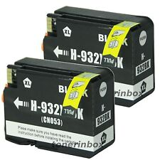 2 Pk Black Compatible Ink Cartridge for HP 932XL OfficeJet 6100 6600 6700 W/Chip