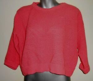 Internacionale coral chunky oversized baggy 3/4 sleeve waist jumper size 10