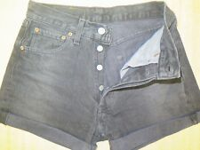 "++ VINTAGE ++ LEVI 501 BLACK DENIM SHORTS SIZE 6/8 W27"" HIGH WAIST/CUT OFF"