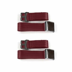 Early Cars 1941 - 1948 Airplane 2pt Burgandy Lap Bucket Seat Belt Kit - 2
