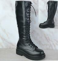 WOMENS LADIES KNEE HIGH CHUNKY PLATFORM MID BLOCK HEEL LACE ZIP UP BOOTS SIZE