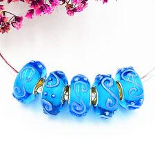 5pcs MURANO Lampwork charm Beads fit 925 silver European Bracelet Chain a219