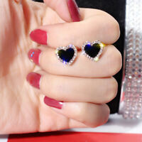 Love Heart Jewelry Womens Black Earrings Fashion Cute Rose Gold Sapphire Stud