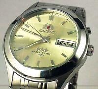 Orient Silver  Gold Dial Men's Automatic Watch 9 Facet  Glass FEM5V002C9