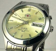Orient Silver  Gold Dial Men's Automatic Watch 9 Facet  Glass FEM5V002C9