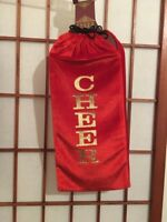 CHRISTMAS HOLIDAY RED VELVET CHEER WINE BAG WITH DRAWSTRING NEW