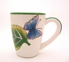 Large White Stoneware Coffee Cup Mug Green Leaf Blue Butterfly 12 oz.