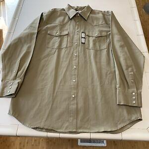 Carhartt Men's Pearl Snap Heavy Canvas Work Shirt S209-KHI - Size 2XL Tall