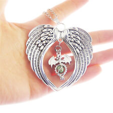 Fashion Silver Metal Dragon Look Pearl Cage Angel Wing Charm Pendant Necklace