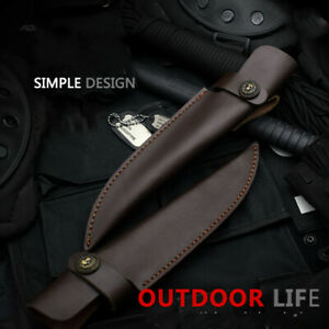 1X Cowhide Leather Straight Knife Sheath Pouch Case Cover Fixed Blade Outdoor