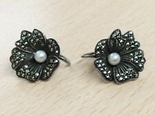 VINTAGE SILVER MARCASITE & PEARL SCREW ON EARRINGS 1940