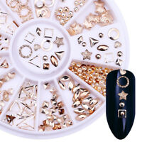 3D Rose Gold Alloy Rivet Nail Art Studs Geometry Star Round Nail Decorations