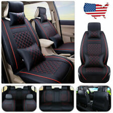 US Stock Car Seat Cover Cushion PU Leather 5-Seats Rear+Front w/Pillows Size L
