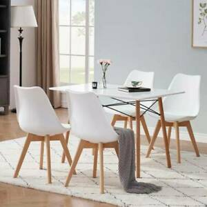 2/4 PCS PU Leather Dining Chair Office Cafe Lounge Seat Retro Replica  Wood Legs