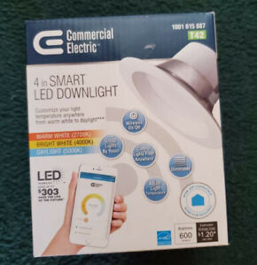 """4"""" Smart LED Dimmable Recessed Downlight 2700K-5000K, Commercial Electric"""