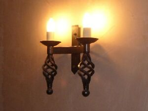 Wrought Iron British Hand Forged Double Wall Light