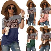 Women Casual Leopard Stripe T Shirt Short Sleeve Tops Crew Neck Summer Blouse