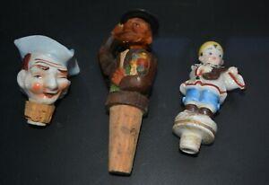 LOT Vintage GERMAN CARVED WOOD Wine Bottle Cork Stopper, Clown, Soldier?