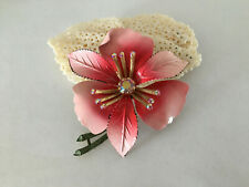 Vintage Lisner Signed Pink Enamel Large Flower Brooch AB Rhinestone