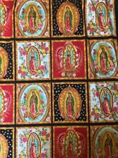1 Yard Day Of Religious Lady Guadalupe Mexican Fabric Ethnic Folk Textiles