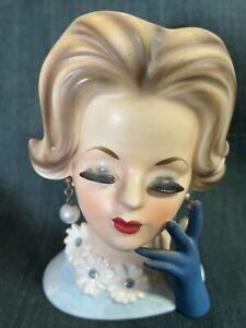 "Vintage Napcoware Napco C6427 4 1/2"" Lady Head Vase w/ Pearl Earrings blue dress"