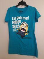 Despicable Me 2 Women's Graphic T-Shirt Aqua Turquoise Short Sleeve Size M