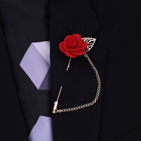 Rose Flower Lapel Pin Gold Metal Women Men Cloth Brooch pin Wedding Suit Red