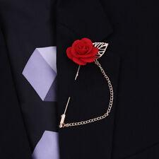 Rose Flower Lapel Pin Gold Metal Women Men Cloth Brooch pin Wedding Suit Red