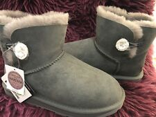 CLEARANCE -Ever Ugg Boots -grey- mini classic short with Swarovski element- US 7