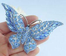 Luxury Butterfly Animal Brooch Pin Blue Austrian Crystal Pendant Deco 04538BLU