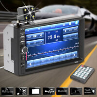 "7"" Double Car Radio Stereo In-Dash+Camera MP5 Player 2 Din Bluetooth FM AUX"