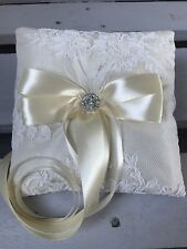 Ivory Champagne Wedding Ring Cushion Bearer Pillow Floral Lace Pearls Diamanté
