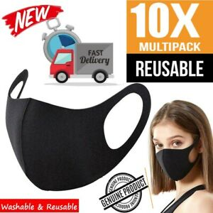10X Reusable Face Mask Black Washable Breathable Dust Proof Mouth Cover UK