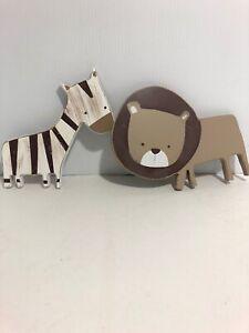 Pair Of Wood Zebra  & Lion Wall Hanging Nursery Children's Room