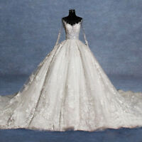 Cathedral Train Lace Applique Wedding Dress White/Ivory Puffy Church Bridal Gown