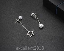 Women 925 Sterling Silver Cute Moon Star Pearl Long Tassels Drop Dangle Earrings