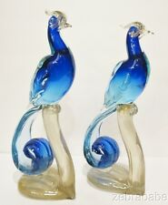 "Vintage Alfredo Barbini Murano Bird of Paradise Figurines Pair Cobalt Blue 12"""