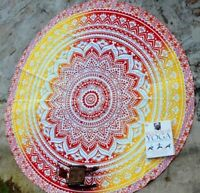 Ombre Indian Mandala Round Tapestry Picnic Bed Sheet Spread Table Cover Throw Du