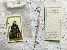 """ST.PEREGRINE BREAST CANCER CHAPLET"" ROSE QUARTZ Booklet, H.C. Hand-Designed NEW"