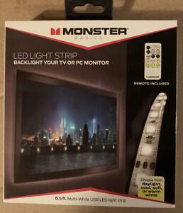 Monster Multi-White USB LED Light Strip  6.5ft & Remote Dimmable