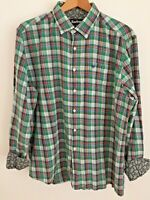 Barbour Falstone Lawn Long Sleeve Green Check Cotton Mens Contrast Shirt Size XL