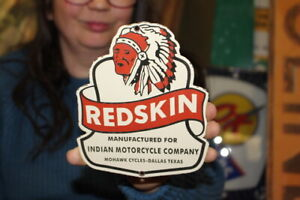 Redskin Indian Motorcycle Company Dallas Texas Gas Oil Porcelain Metal Sign