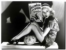 BETTY GRABLE HALLOWEEN vintage pinup *FRAMED* CANVAS ART - 18x12""