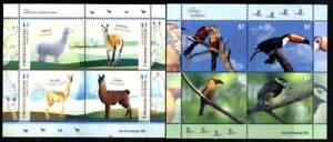 ARGENTINA 2015,FAUNA BIRDS CAMELIDS 2 MINISHEETS YV 3085-92 MNH